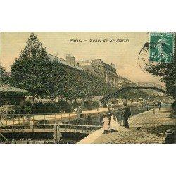 PARIS X. Ecluses et Péniches sur le Canal Saint-Martin 1909