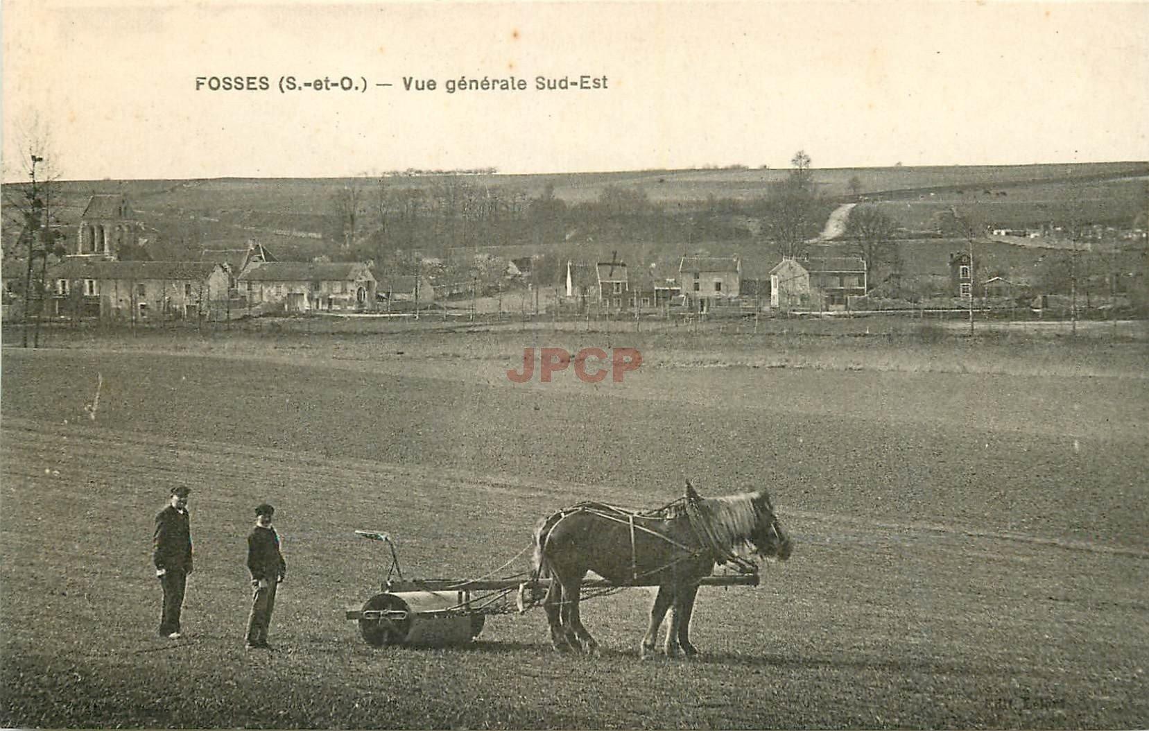 95 FOSSES. Le Village et un attelage de Chevaux pour l'Agriculture 1932