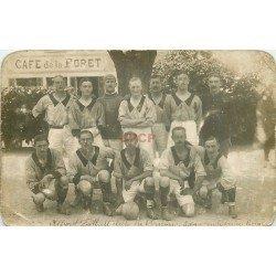 27 VERNON. Rare équipe Militaire de Football du Club. Carte Photo Café de la Forêt. Boin photographe rue Ste-Genevève