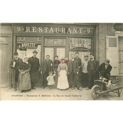 carte postale ancienne 28 CHARTRES. Buvette Restaurant Moreau 9 Rue du Grand Faubourg. Carte note addition au verso