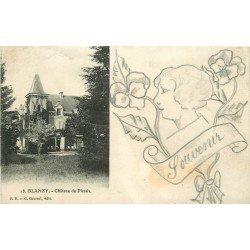 71 BLANZY. Château du Plessis et véritable petit dessin fait à la main au crayon noir