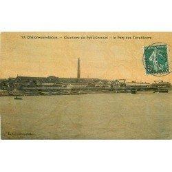 71 CHALON-SUR-SAONE. Port des Torpilleurs aux Chantiers du Petit Creusot 1910. Carte toilée