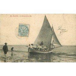 17 ÎLE DE RE. La Promenade en Mer par Bateau à voiles 1907