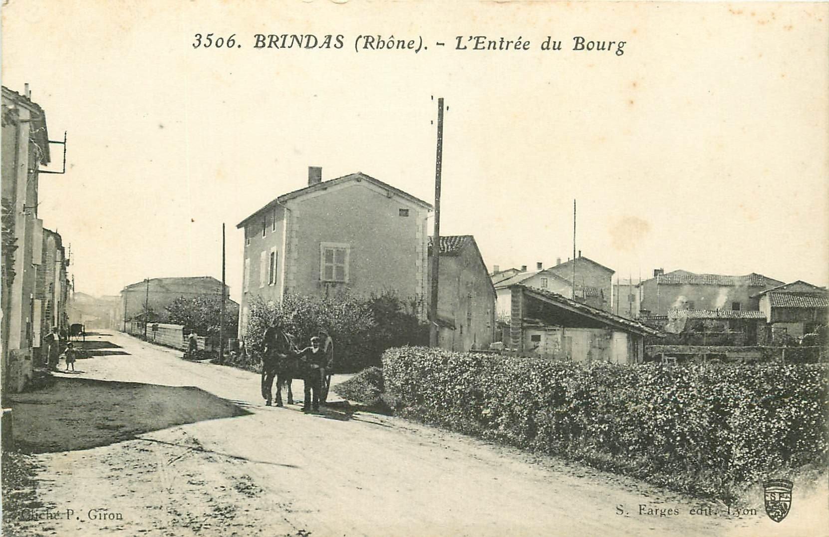69 BRINDAS. Attelage à l'Entrée du Bourg 1915