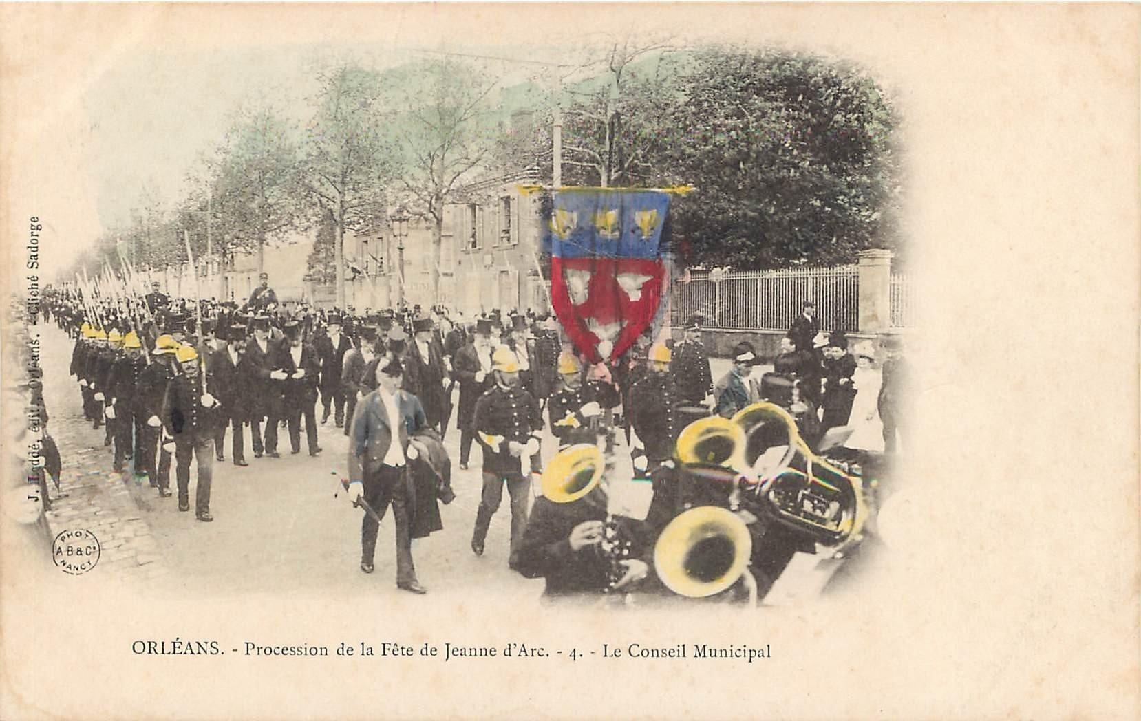 45 ORLEANS. Fêtes Jeanne d'Arc Conseil Municipal avec Pompiers et Gardes