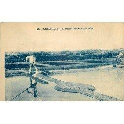 44 SAILLE. Le travail des Paludiers dans les Marais salants. Sel et Mulons