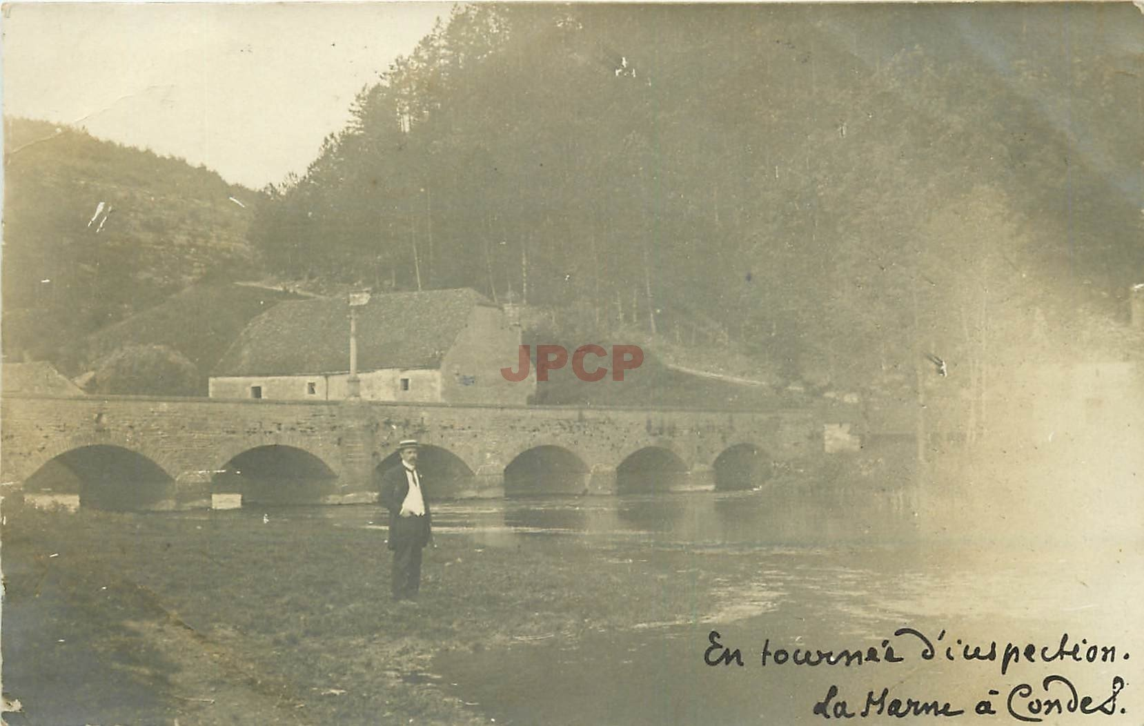 WW 52 CHAUMONT. En tournée d'inspection de la Marne à Condes. Photo carte postale 1910