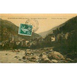 06 SAINT-SAUVEUR-SUR-TINEE. Le Village. Carte postale ancienne toilée 1911