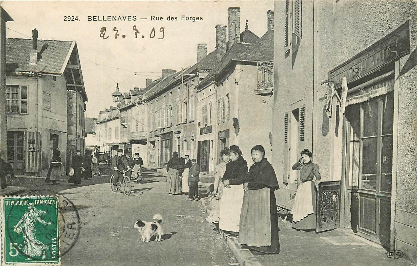 WW 03 BELLENAVES. La Boucherie rue des Forges 1909