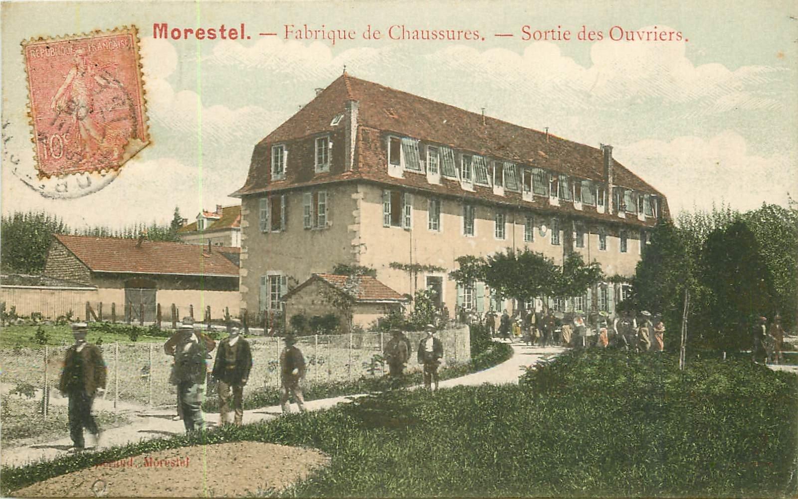 WW 38 MORESTEL. Sortie des Ouvriers de la Fabrique de Chaussures 1906