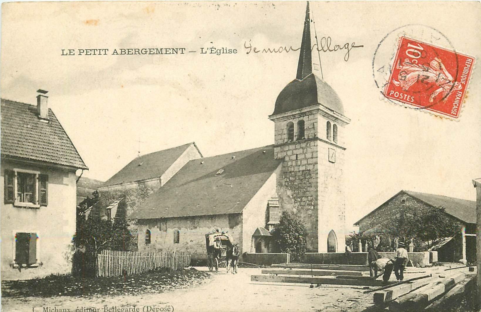 01 LE PETIT ABERGEMENT. Ouvriers et attelage devant l'Eglise 1909