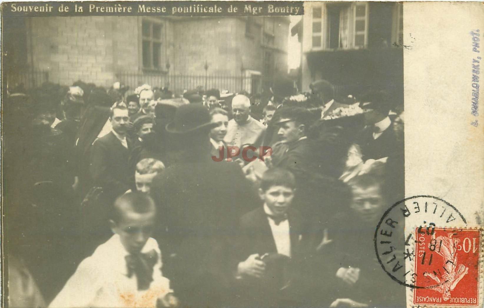 WW 03 MOULINS. Première Messe pontificale de Mgr Boutry. Photo carte postale légendée 1907