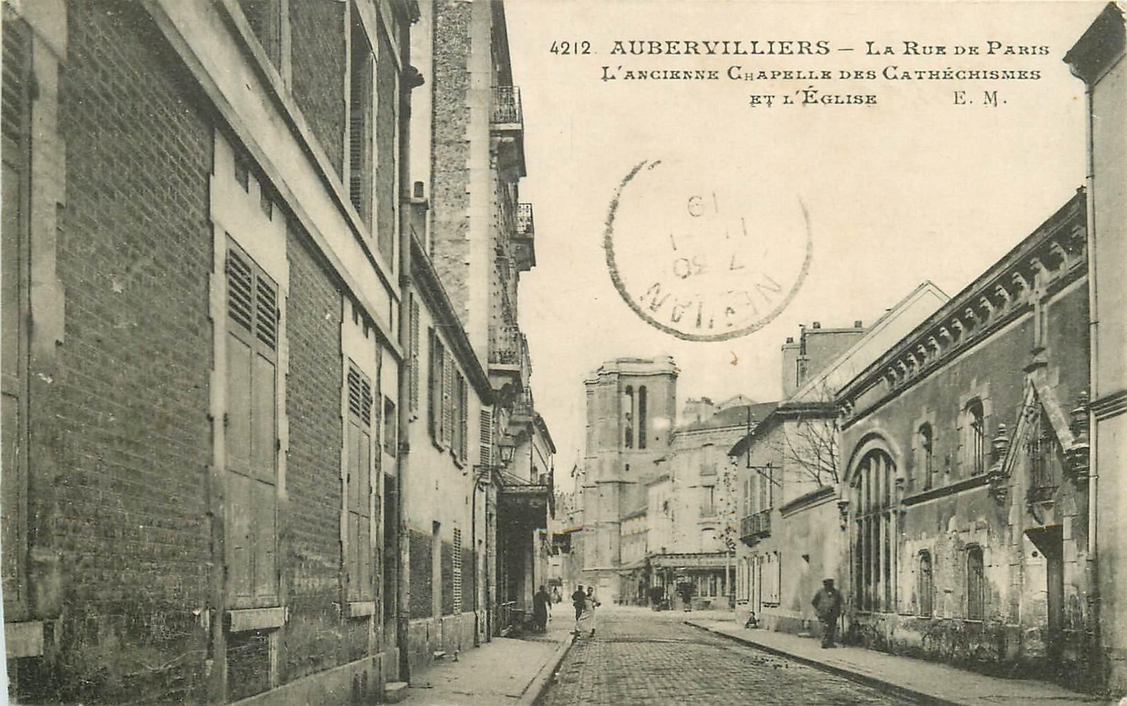 93 AUBERVILLIERS. Eglise ancienne Chapelle des Cathéchismes rue de Paris 1919