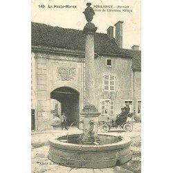 WW 52 POULANGY. Voiture ancienne Didot devant Entrée ancienne Abbaye et Fontaine 1907