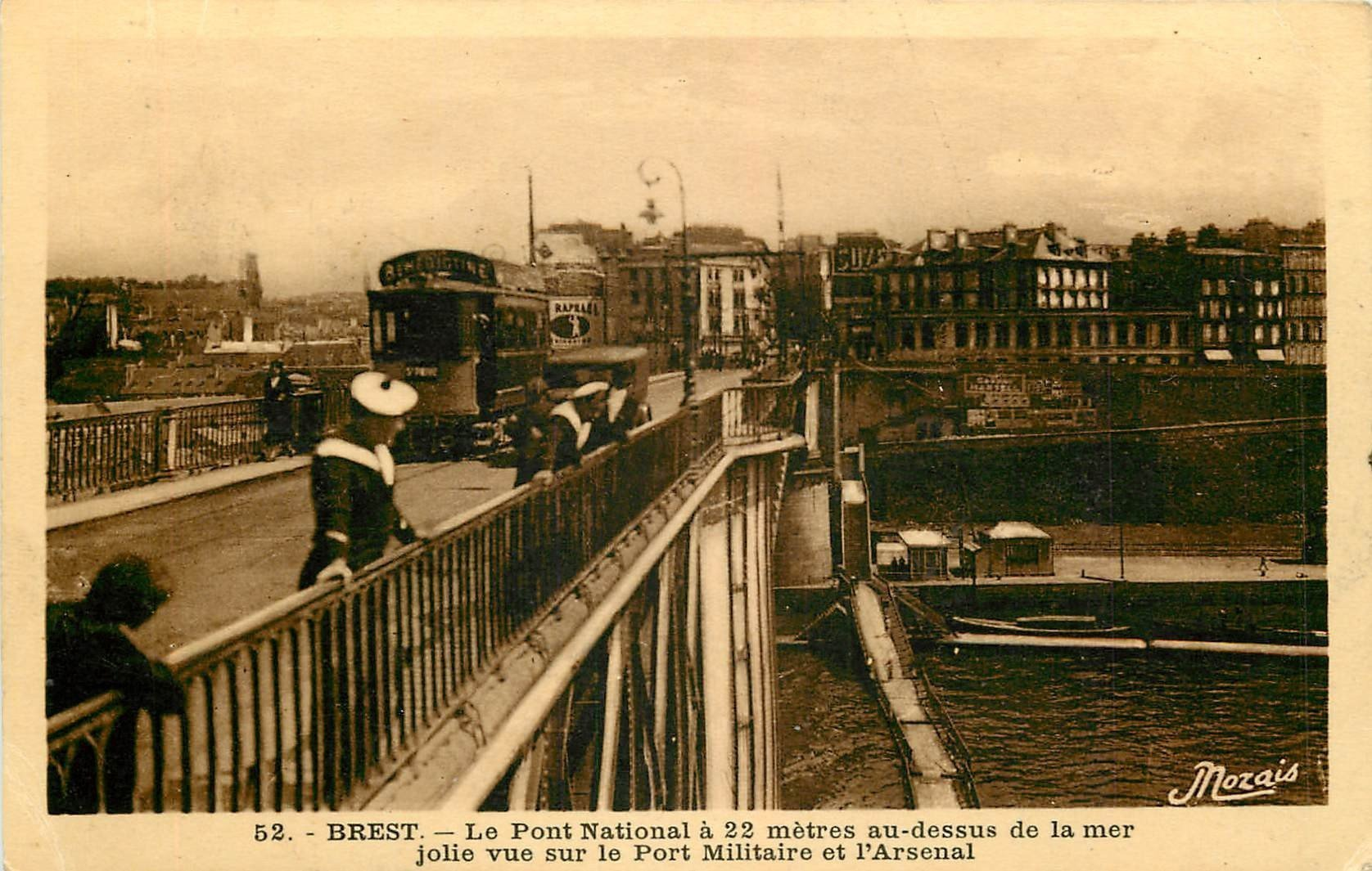 WW 29 BREST. Marins et Tramway sur le Pont Nationa. Port Militaire et Arsenal 1935