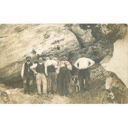 WW 91 BOUTIGNY. Ouvriers dans une Carrière de Grés. Photo carte postale 1911