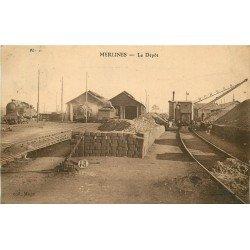 19 MERLINES. Le Déôt du Chemin de Fer avec Locomotive grue