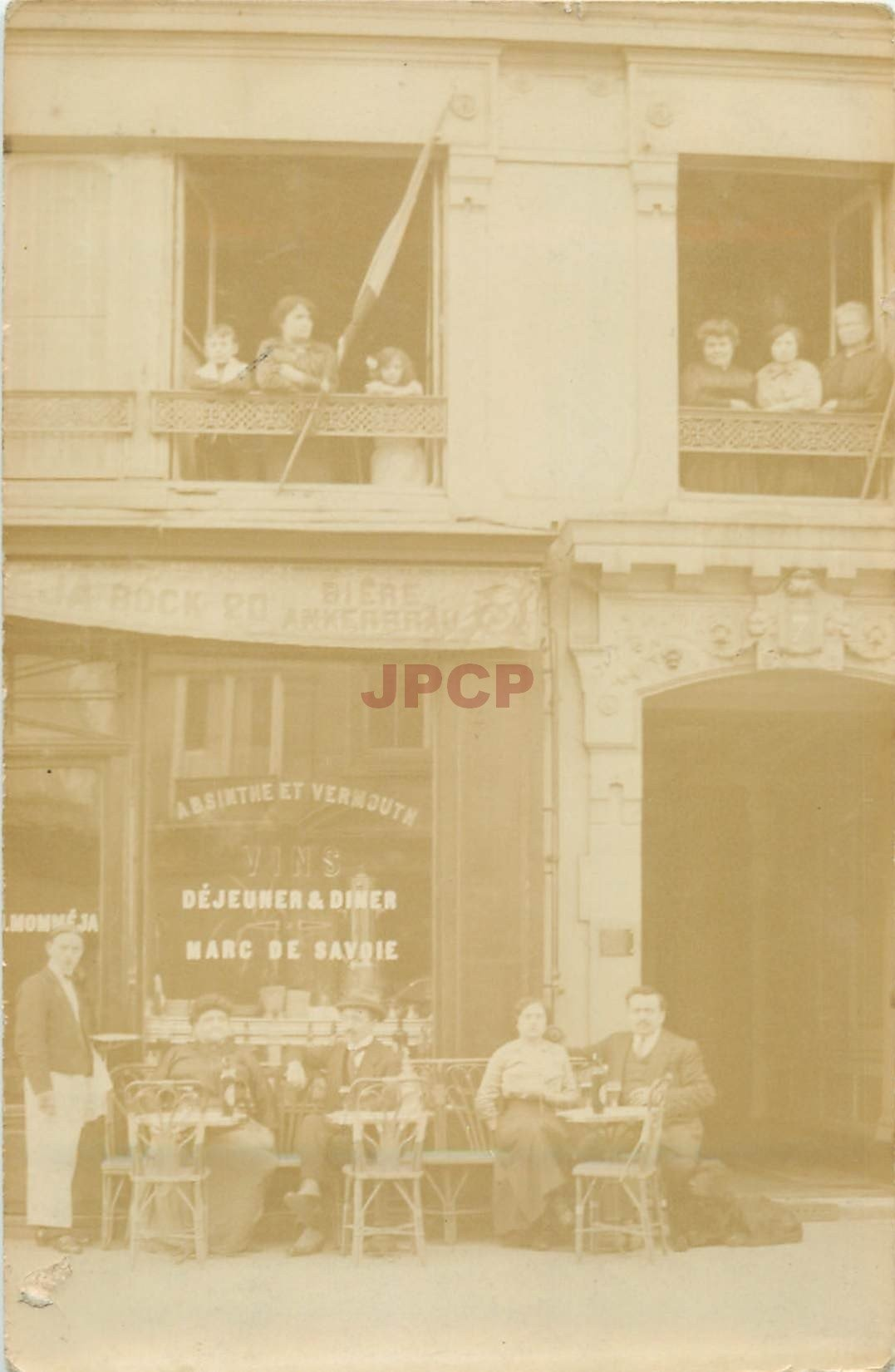 PARIS 19. Café Momméga au 7 Boulevard Mac Donald. Photo carte postale ancienne 1915