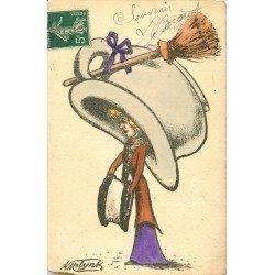 WW Illustrateur MOLYNK. Femme avec chapeau en pot de chambre