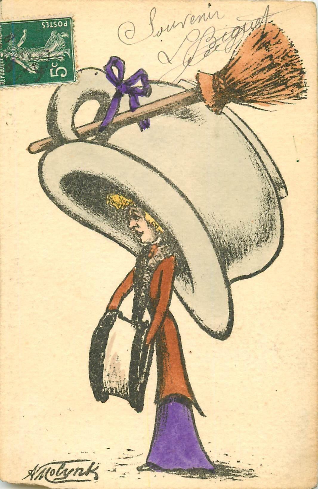 WW Illustrateur MOLINK. Femme avec chapeau en pot de chambre