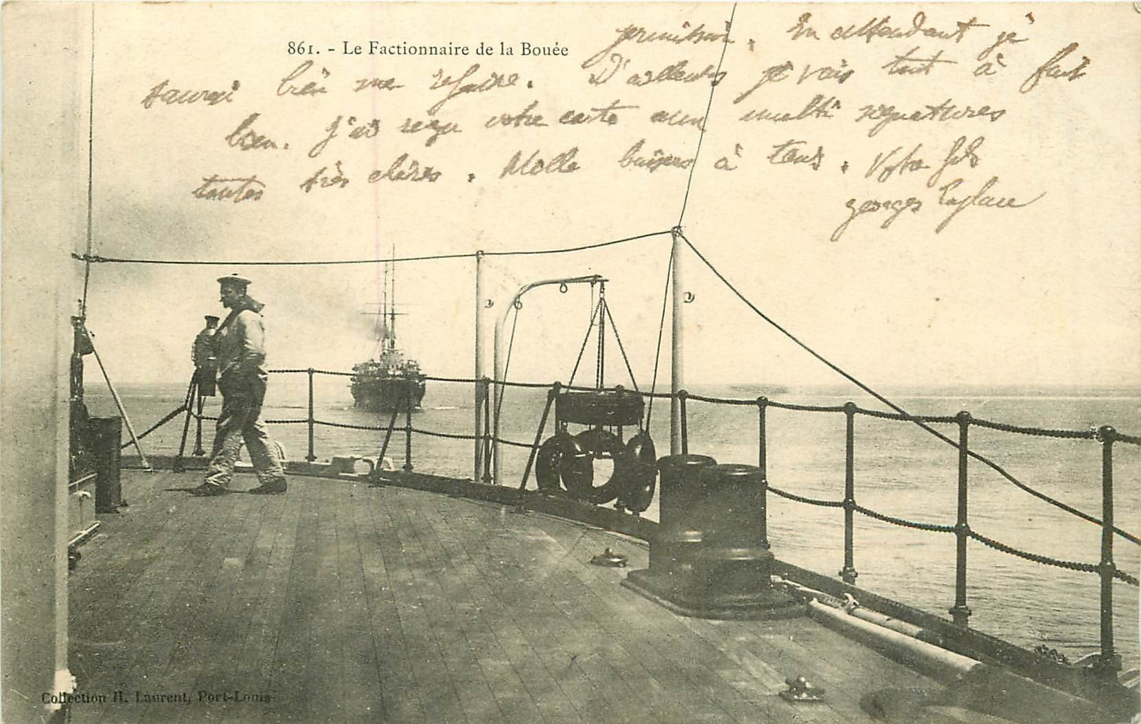 WW MARINE DE GUERRE FRANCAISE. Le Marin Factionnaire de la Bouée 1906 sur Navire