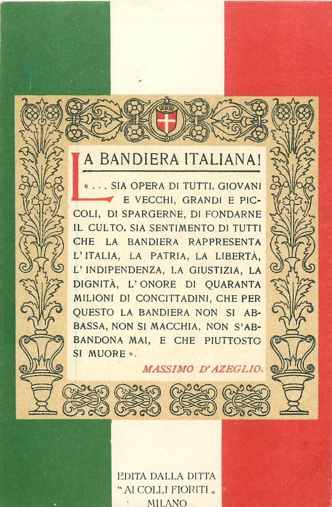 WW PATRIOTIQUE. La Bandiera Italiana texte de Massimo d'Azeglio