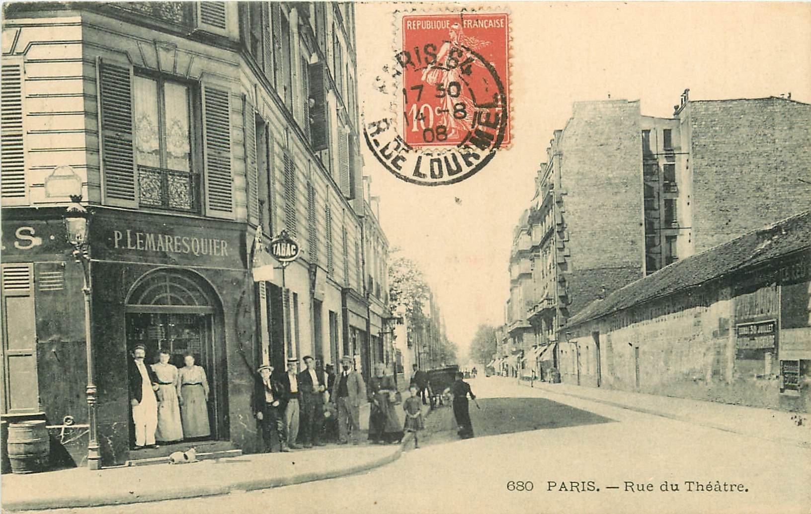 carte postale ancienne PARIS 15. Tabac Lemaresquier rue du Théâtre 1908