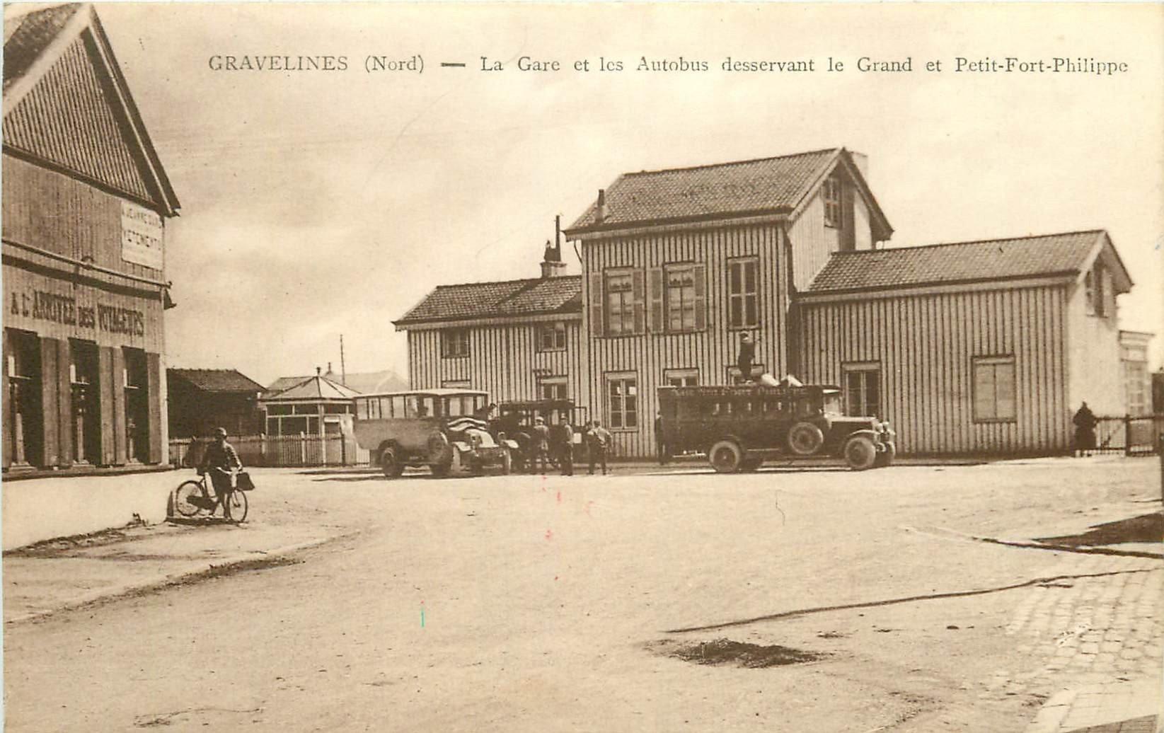 WW 59 GRAVELINES. La Gare et les Autobus du Grand et Petit Fort Philippe
