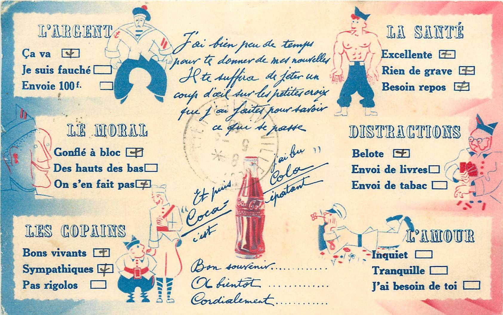 WW COCA COLA. Carte publicitaire Humour d'un Militaire 1940