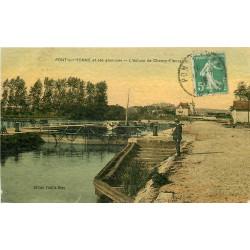 WW 89 PONT-SUR-YONNE. Péniche et Pêcheur près de l'Ecluse de Champ-Fleury 1916