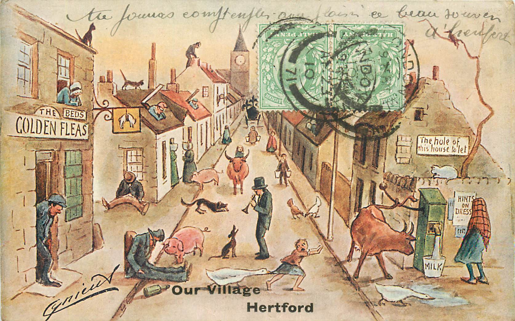 carte postale ancienne humour