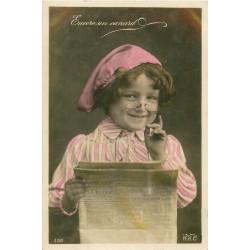 WW FANTAISIE. Enfant lisant un Journal et encore un canard vers 1910
