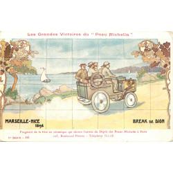 PUBLICITE. Grandes Victoires du Pneu Michelin. Marseille-Nice en Break de Dion vers 1896
