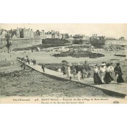 WW 35 SAINT-MALO. Passerelle des Bés et Plage de Bons-Secours 1911