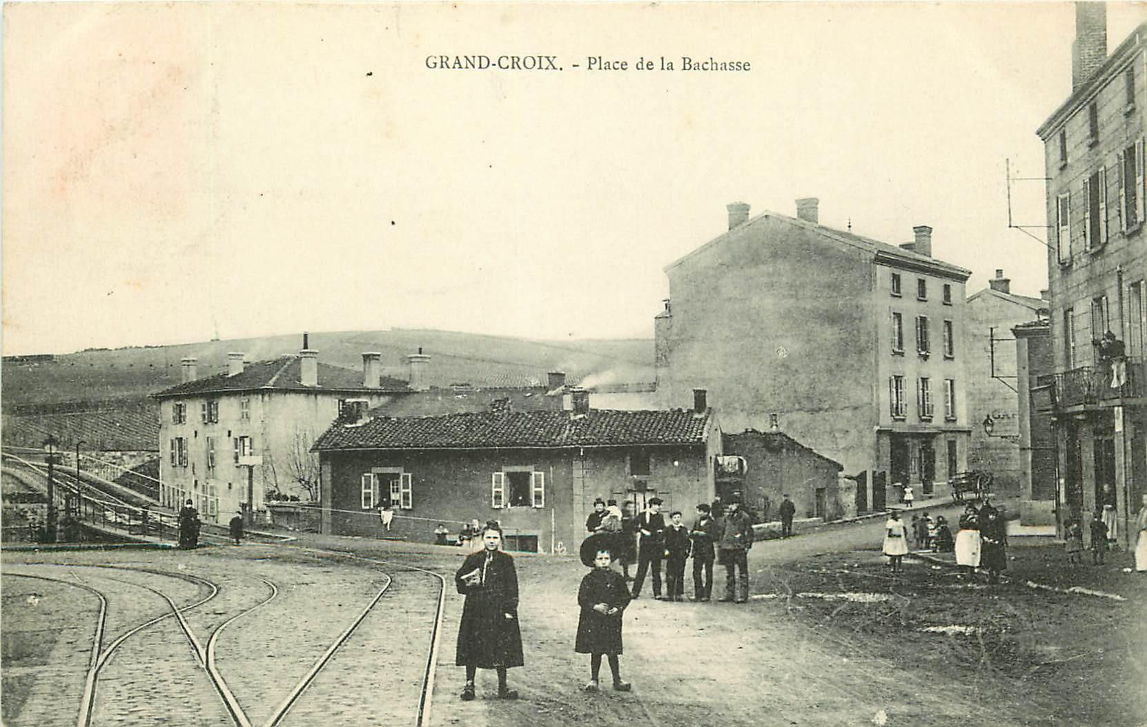 WW 42 GRAND-CROIX. Ligne de Tramway sur Place de la Bachasse 1908