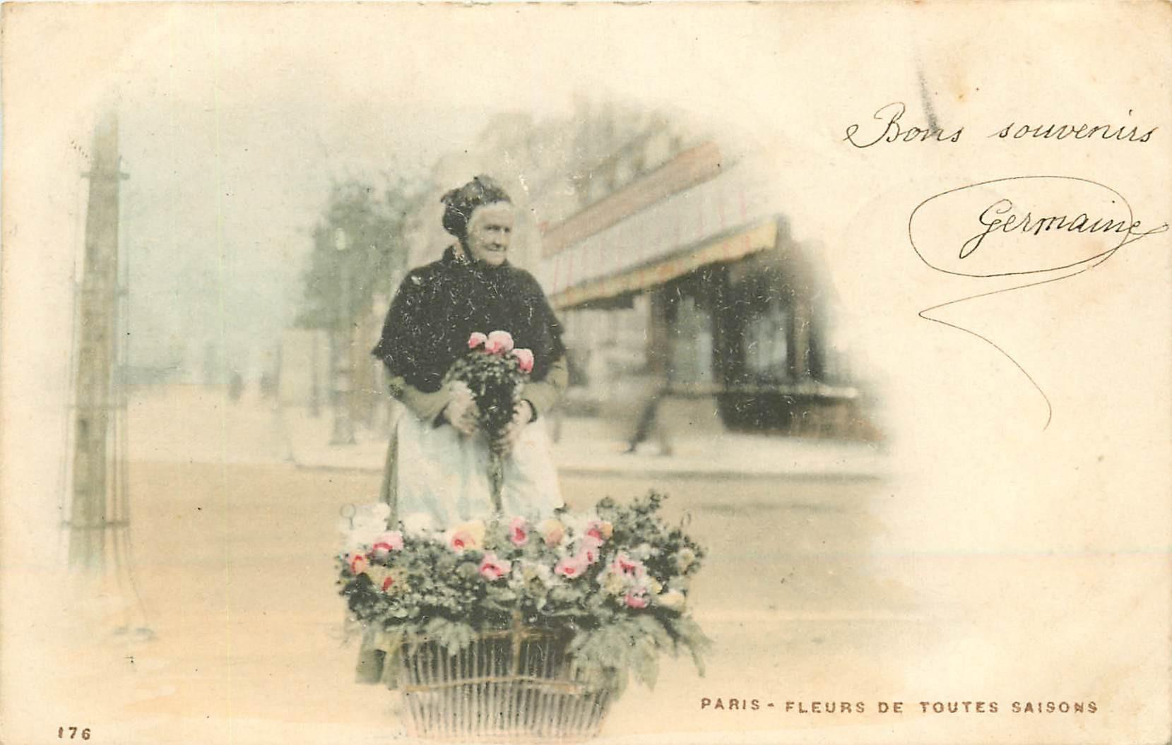 WW PARIS Vieux métiers. La Marchande de Fleurs de toutes Saisons 1902