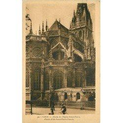 carte postale ancienne 14 CAEN. Top Promotion Abside Eglise Saint-Pierre avec Cycliste