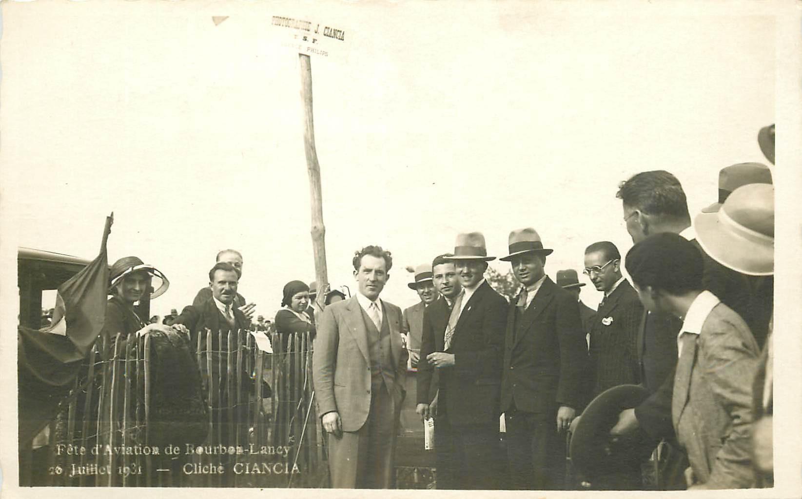 WW 71 BOURBON-LANCY. Fête de l'Aviation en 1931. Aérodrome Aéroplane Aviateur. Photo carte postale