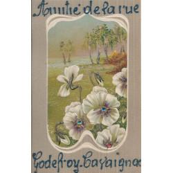 PARIS 11° Amitié de la rue Godefroy Cavaignac. Carte gaufrée, pailletée et pierreries 1907