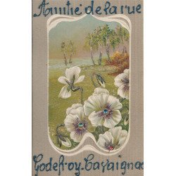 WW PARIS XI. Amitié de la rue Godefroy Cavaignac. Carte gaufrée, pailletée et pierreries 1907