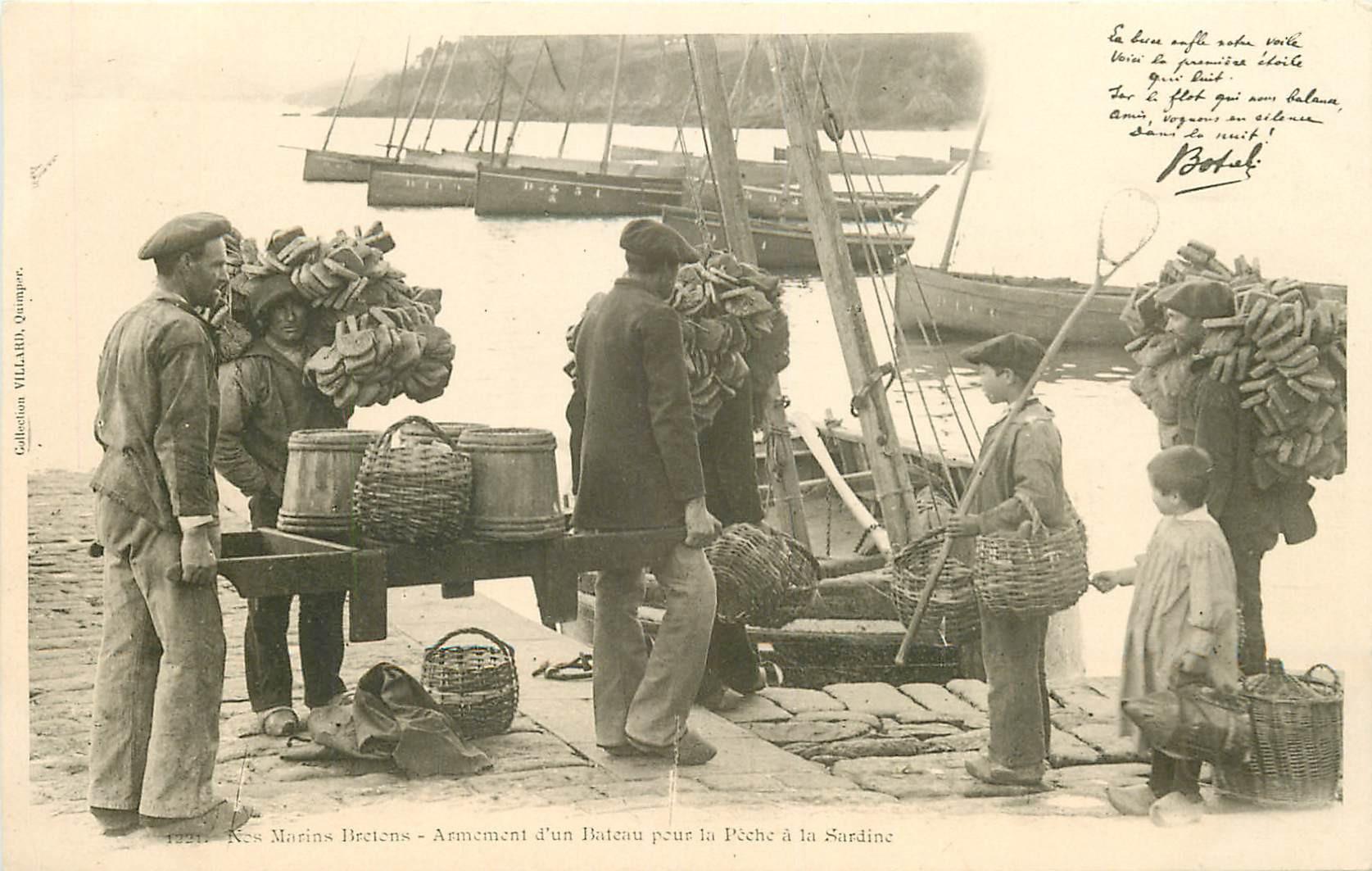 WW 29 Nos Marins Bretons armement d'un Bateau pour la Pêche à la Sardine vers 1900