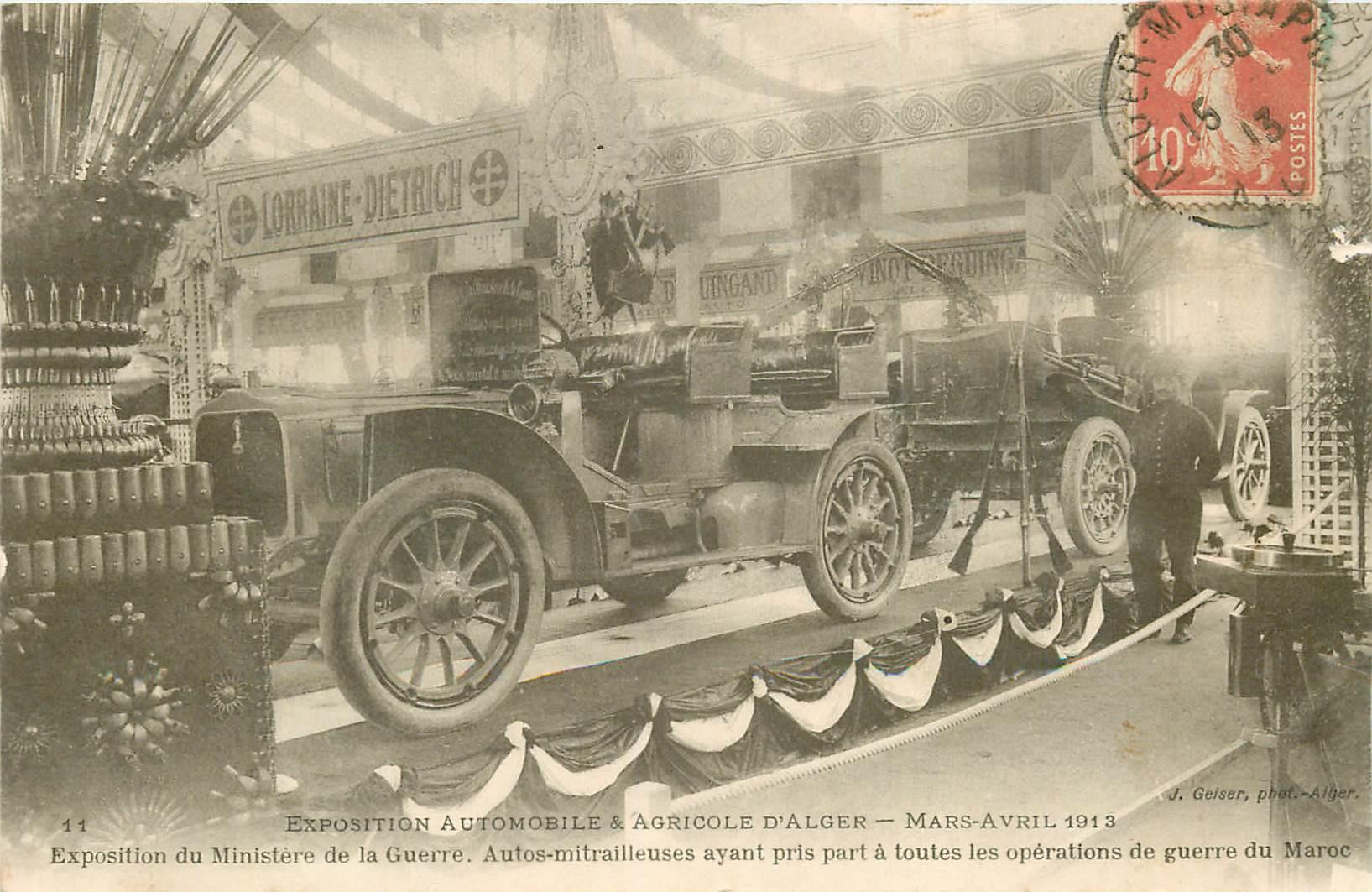 WW ALGER. Exposition Ministre Guerre Automobile & Agricole 1913. Autos-mitrailleuses du Maroc