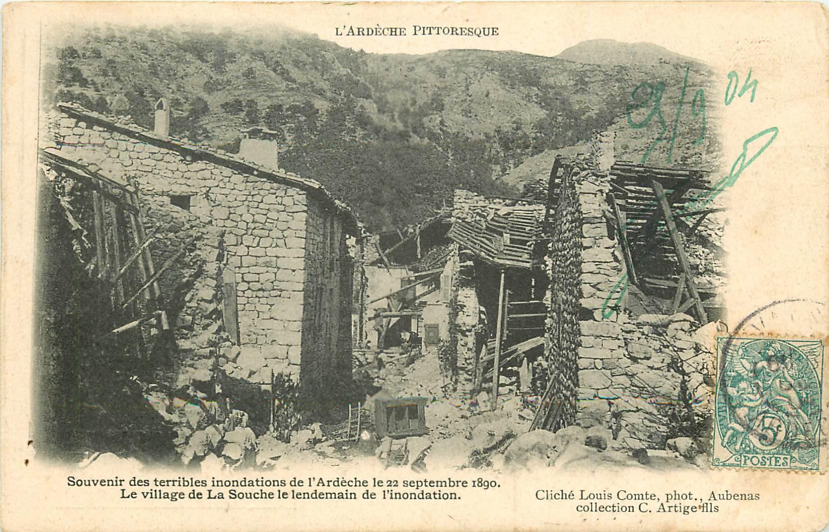 WW 07 LA SOUCHE. Le Village après la terrible inondation de 1890...