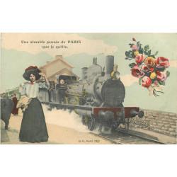 WW PARIS. Une Pensée avec Train et locomotive à vapeur vers 1911
