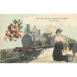 PARIS. Un sourire avec Train et locomotive à vapeur 1911