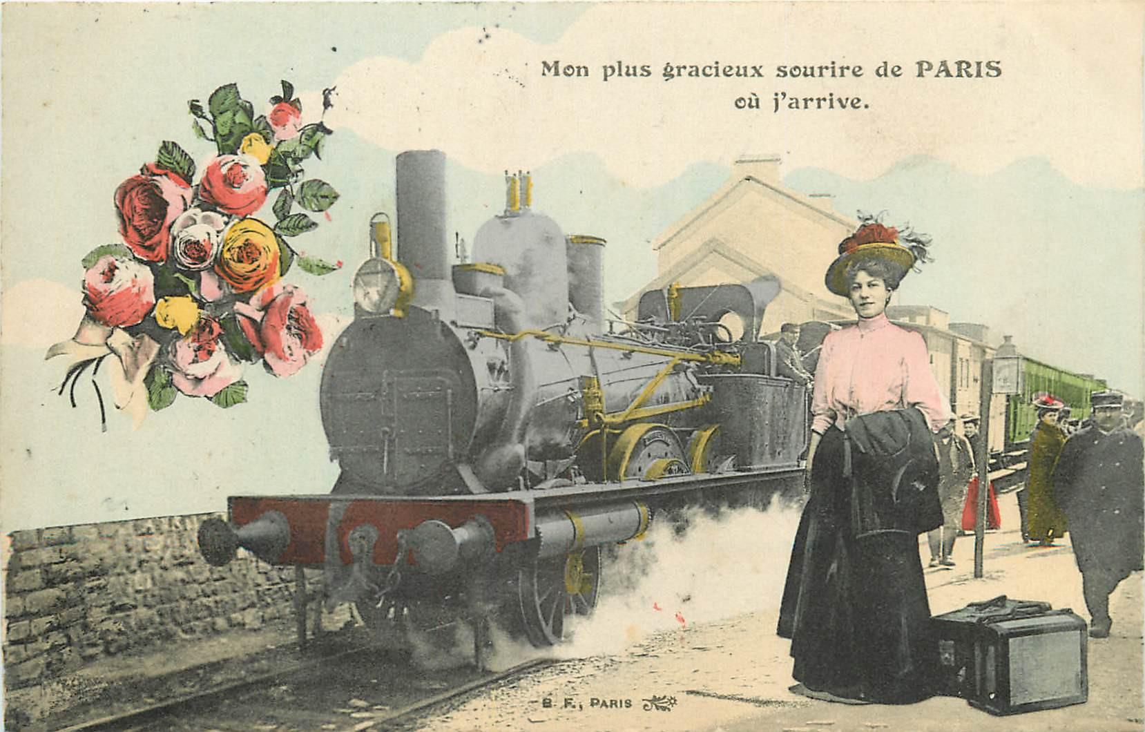 WW PARIS. Un sourire avec Train et locomotive à vapeur 1911