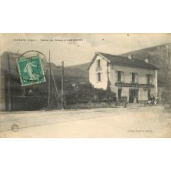 WW 38 FONTAINE. Station tramways des Balmes et voiture devant Café de l'Echo par Roudet 1911