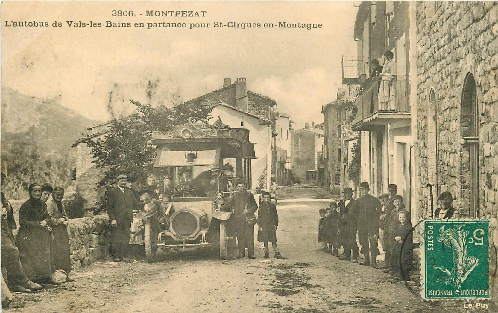 WW 07 MONTPEZAT. Autobus de Vals-les-Bains en partance pour Saint-Cirgues-en-Montagne 1911