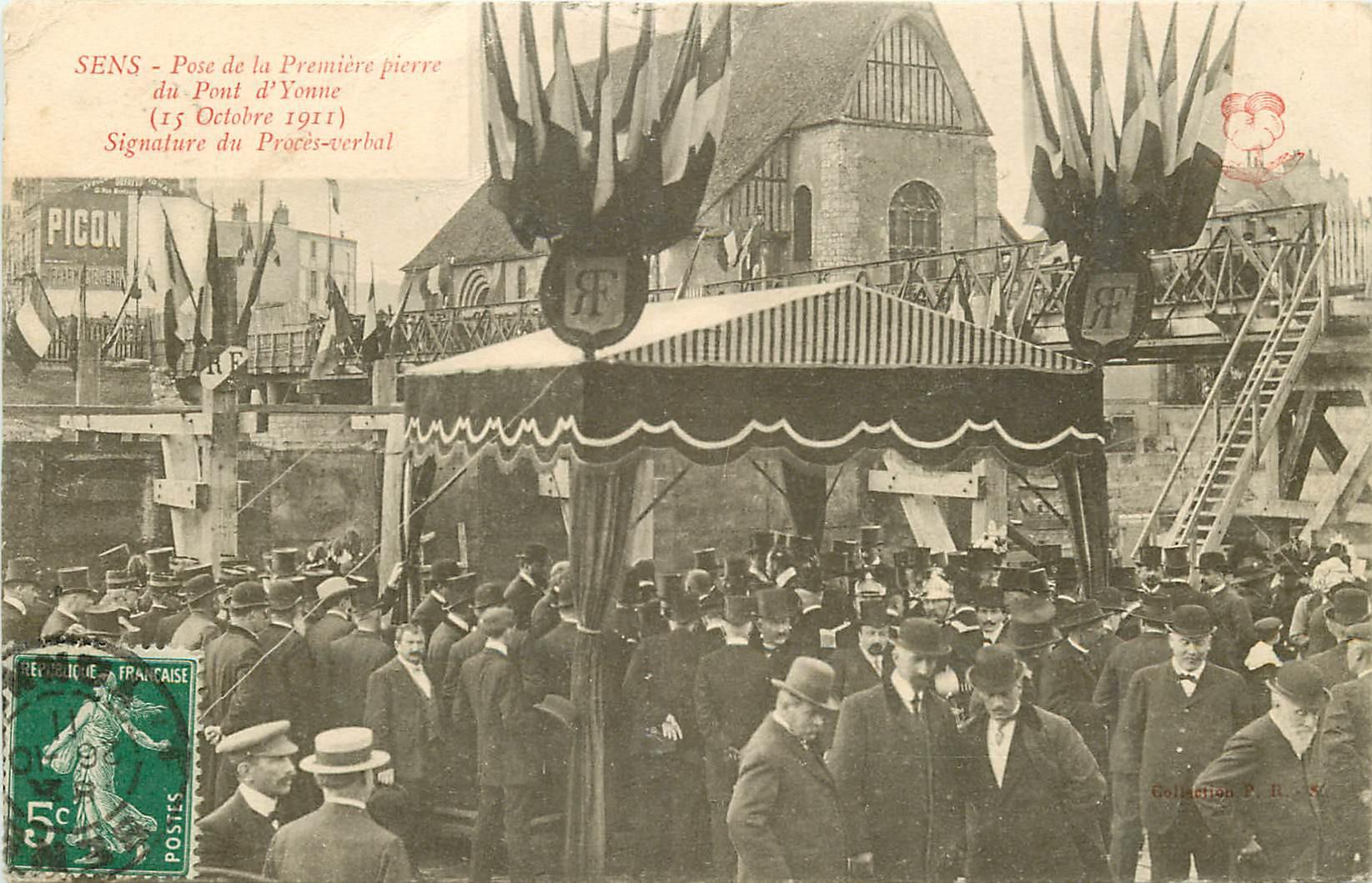 WW 89 SENS. Pose de la Première pierre du Pont d'Yonne et Procès-verbal 1911