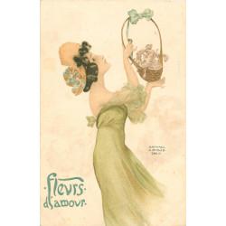 """WW KIRCHNER RAPHAËL. Illustrateur des """"Fleurs d'Amour"""". Carte pionnière Paris vers 1903"""